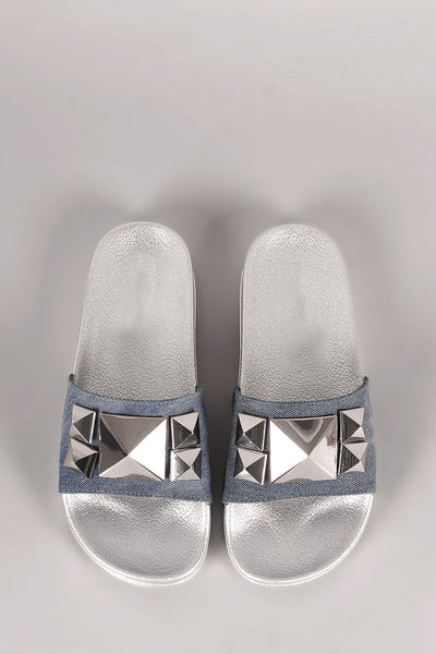 Denim Studded Slide Sandal For Women By LUD | Shop Women's Fashion Lovely Stylish Fashionable Open Toe Slide Sandal Shoe Republic LA Denim Studded Slide Sandal