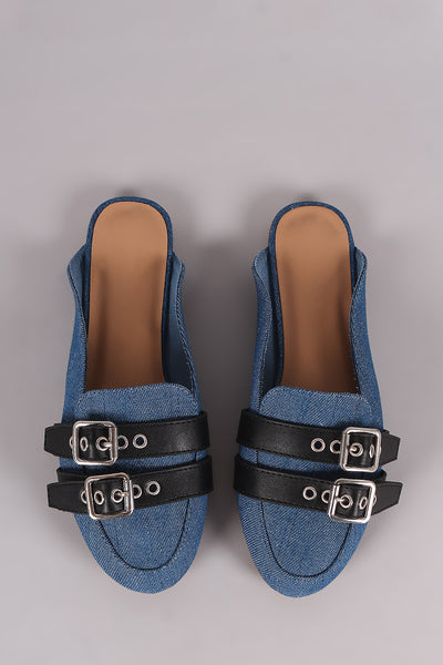 Bamboo Denim Double Buckle Strap Mule Flat
