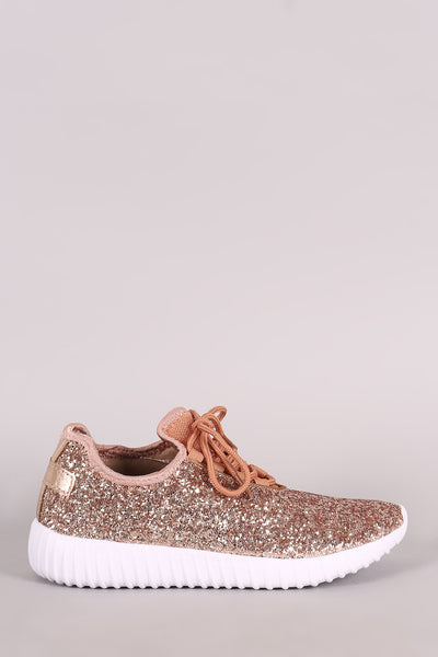 Liliana Sparkling Glitter Lace Up Rigged Sneaker