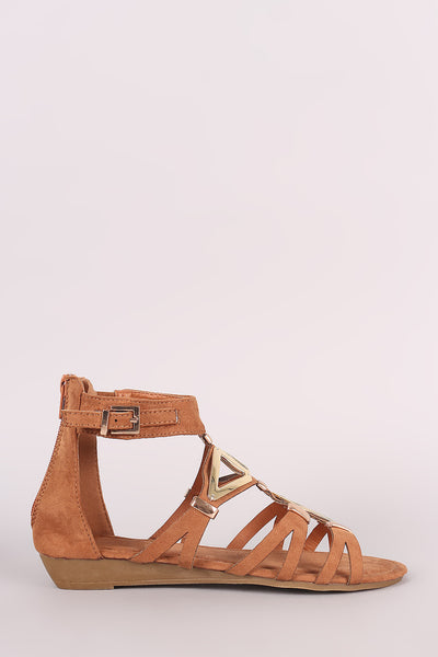 Suede Metallic Accent Cutout Wedge Sandal