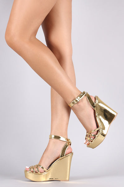 Qupid Metallic Patent Caged Ankle Strap Wedge