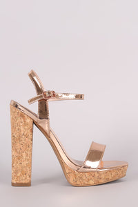 Shoe Republic LA Metallic Open Toe Cork Heel