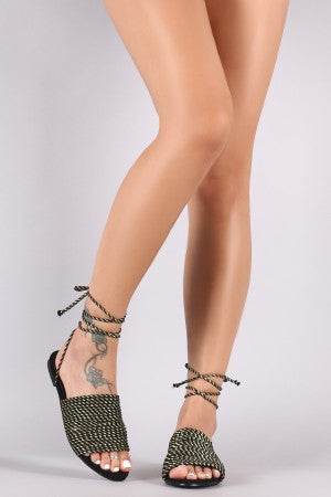 Suede Open Toe Lace Up Strappy Metallic Rope Flat Sandal