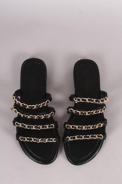 Strappy Chain-Embellished Slip On Sandal For Women By LUD | Shop Women's Fashion Leather Strappy Vamp Chain-Embellished Open Toe Silhouette and Lightly Added Insole Slip On Sandal