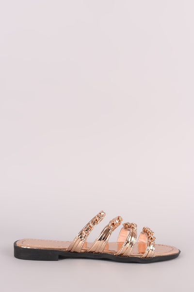 Strappy Chain Slip On Sandal For Women By Qupid | Shop Women's Fashion Lovely Stylish Metallic Strappy Chain-Embellished Open Toe Slip On Sandal