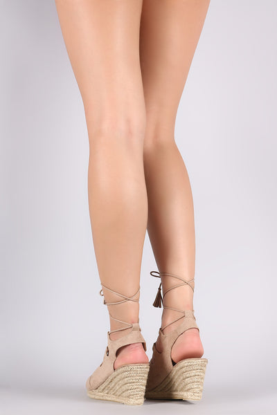 Suede Lace Up Espadrille Wedge