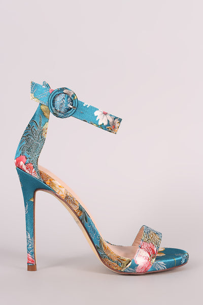 Satin Floral Embroidery Open Toe Ankle Strap Stiletto Heel