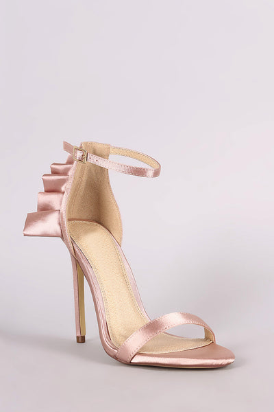 Satin Ruffle-Trimmed Ankle Strap Dress Heel