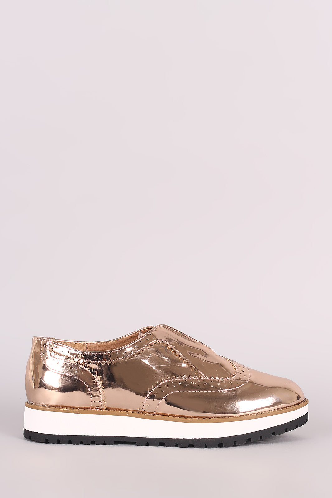 Qupid Perforated Patent Laceless Flatform Oxfords
