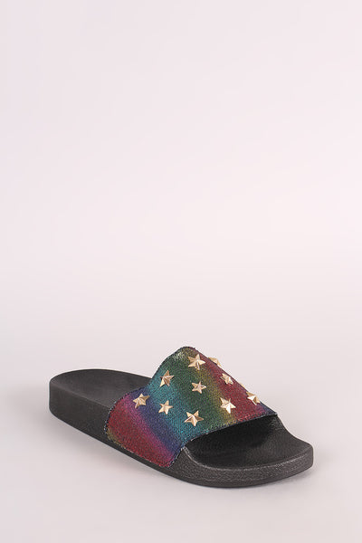 Stars Accent Slide Sandal For Women By Qupid | Shop Women's Fashion Lovely Stylish Adorable Slide Sandal Multicolor Wide Band Stars Accent Open Toe Silhouette Slide Sandal