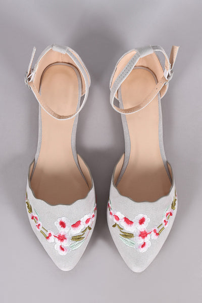 Qupid Embroidered Floral Suede Pointy Toe Ankle Strap Flat
