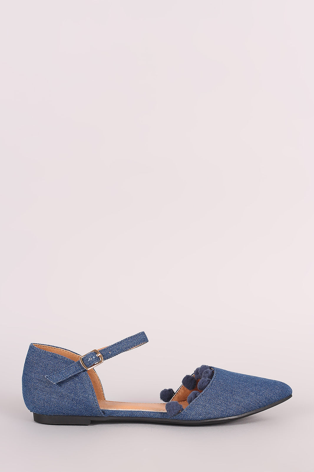 Denim Pointy Toe Pom Pom Ankle Strap Flat