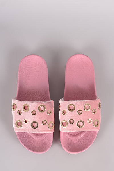 Slide Sandal For Women By Wild Diva | Shop Women's Fashion Lovely Stylish Fashionable Velvet Grommet Embellished Slide Sandal