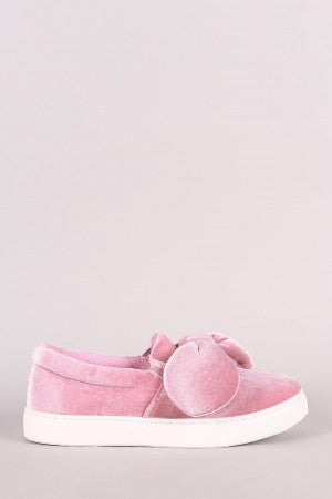Velvet Oversized Knotted Bow Slip On Sneaker
