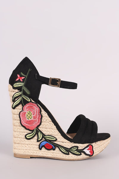 Floral Applique Platform Wedge For Women By Wild Diva Lounge | Shop Women's Fashion Comfortable Ankle Strap Platform Wedge –Casual Open Toe Heel Sandal