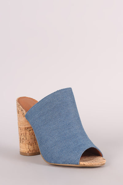 Denim Peep Toe Slip On Mule Cylindrical-Heel