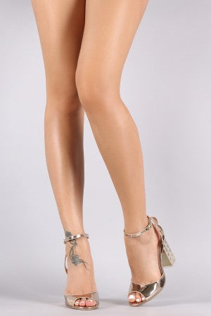 Qupid Patent Zigzag Chunky Clear Heel