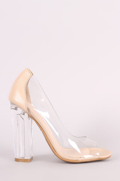 Bamboo Transparent Chunky Clear Heeled Pump
