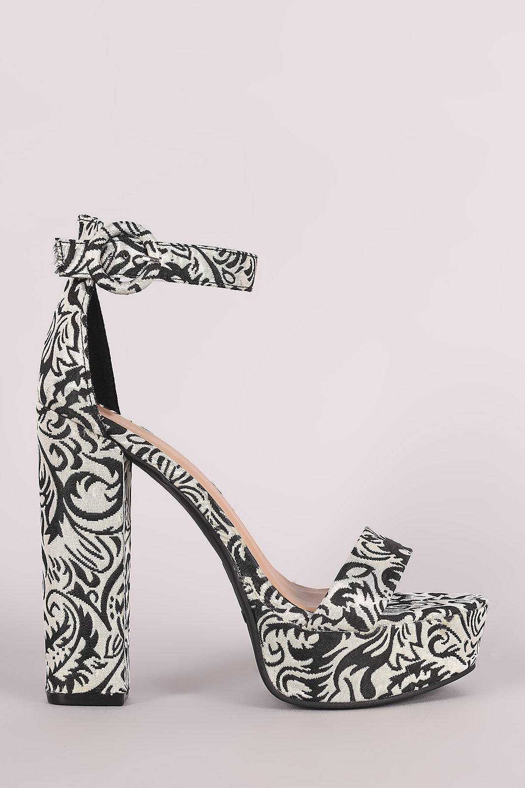 Bamboo Brocade Patterned Ankle Strap Chunky Platform Heel