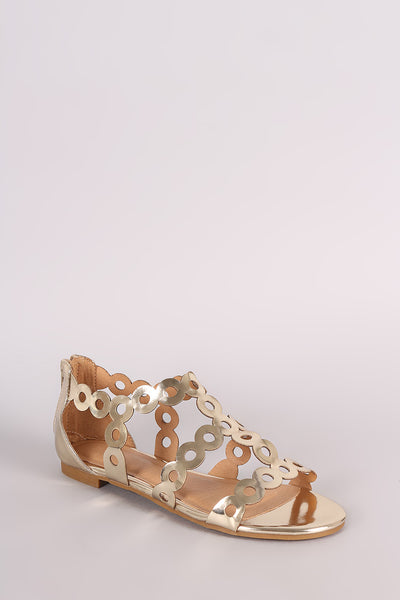 Metallic Scalloped Laser Cut Flat Sandal For Women By Bamboo | Shop Women Open Toe Silhouette Scalloped Trimming Laser Circle Cutout Design Rear Zipper Closure Sandal For Women