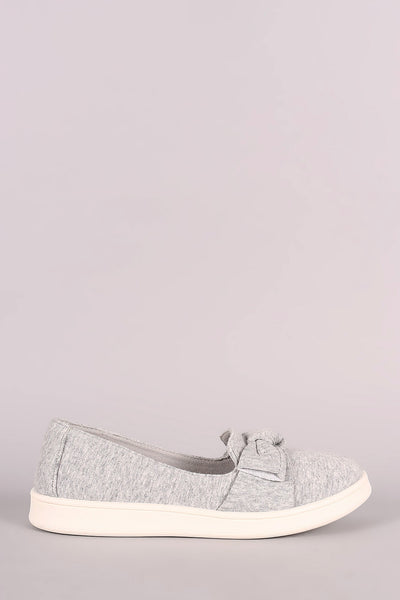 Bamboo Heathered Knit Bow Accent Slip-On Sneaker