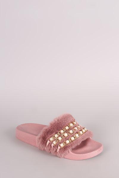 Chain Slide Sandal For Women By Qupid | Shop Women's Fashion Lovely Stylish Sandal Wide Faux Fur Band Pearl Chain Embellished Open Toe Silhouette And A Comfy Molded Footbed Fur Slide Sandal