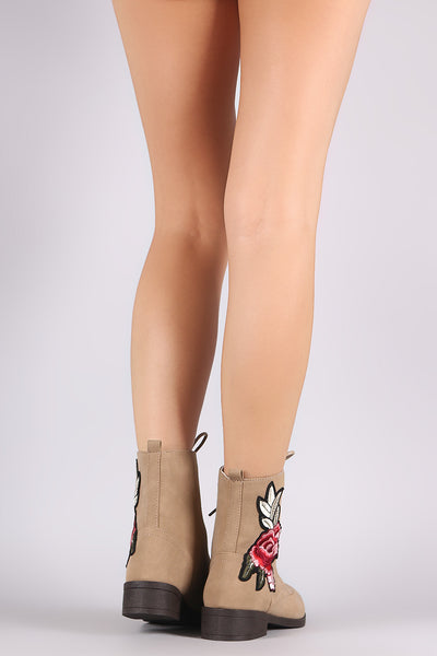 Qupid Floral Applique Nubuck Lace Up Combat Boots