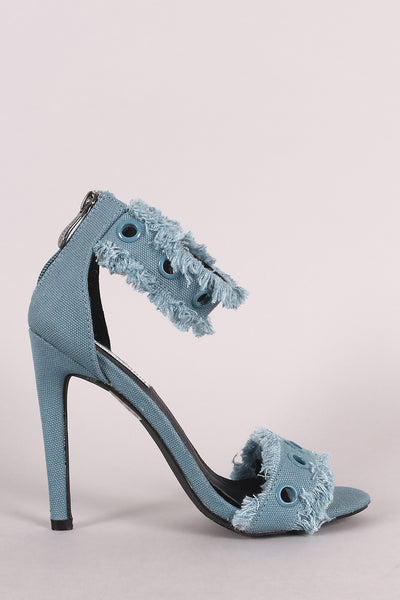 Frayed Denim Stiletto Heel For Women By LUD | Shop Women's Fashion Grommets Embellished Ankle Strap Edges Frayed Denim Stiletto Ankle Strap Heel