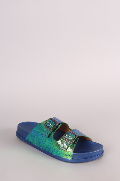 Holographic Slide Sandal For Women By Liliana | Shop Women's Fashion lovely Holographic Snakeskin open toe silhouette Double Buckled Slide Sandal