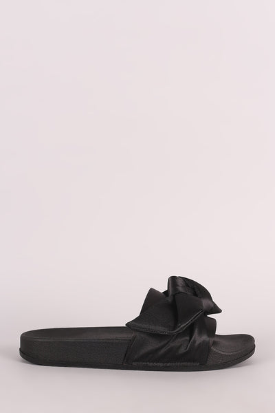 Satin Bow Slide Sandal For Women By LUD | band across vamp with an oversized bow detail and a comfy molded footbed