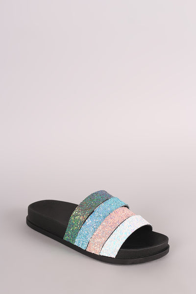 Glitter Sandals For Women By LUD | Shop Women's Fashion Lovely Stylish Fashionable Graceful Sandal Colorblock Glitter Straps Vamp Easy Slide Style