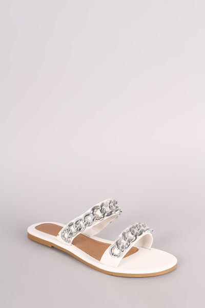 Slip-On Flat Sandal For Women By Wild LUD | Shop Women's Fashion Leather Double Band Chain Across Vamp Open Toe Silhouette Embellished Slip-On Flat Sandal
