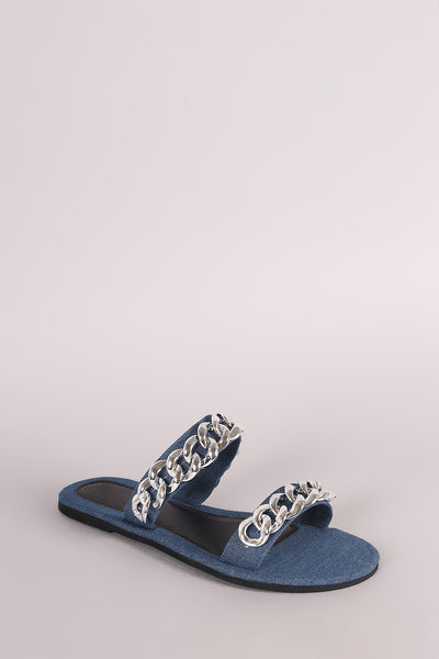 Flat Slip On Sandals For Women By LUD | Shop Women's Fashion Denim Double Band Chain Embellished Slip-On Flat Sandal