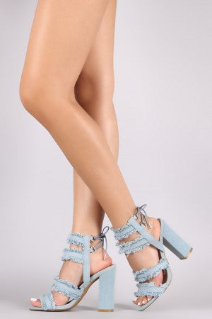 Bamboo Frayed Denim Back Lace-Up Chunky Heel