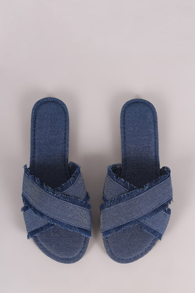 Cross Slide Sandal For Women By Bamboo | Women Fashion Frayed Denim Cross Band Slide Sandal an open toe silhouette, wide crisscross bands with frayed edges slip-on Sandal For Women