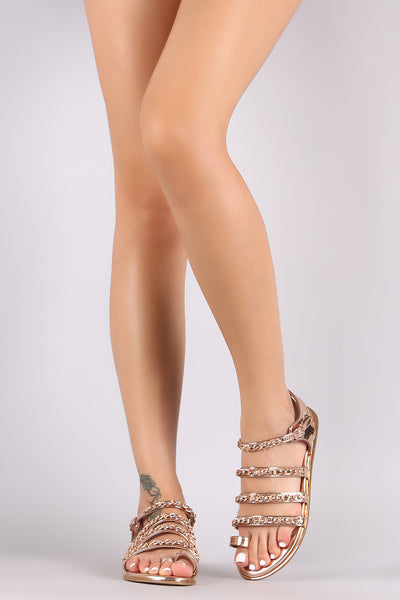 Bamboo Patent Strappy Toe Ring Flat Sandal