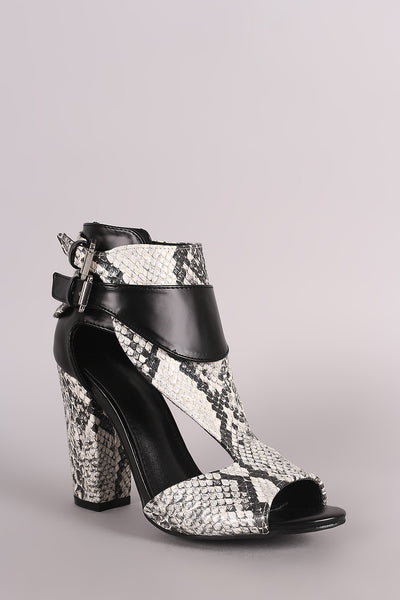 Cutout Chunky Heel For Women By LUD | Shop Women's Fashion Python Print Side Cutout Striking Peep Toe Chunky Wrapped Heel