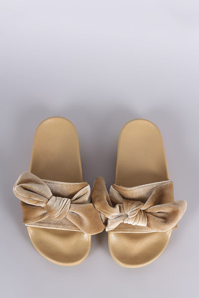 Oversized Velvet Bow Open Toe Slide Sandal