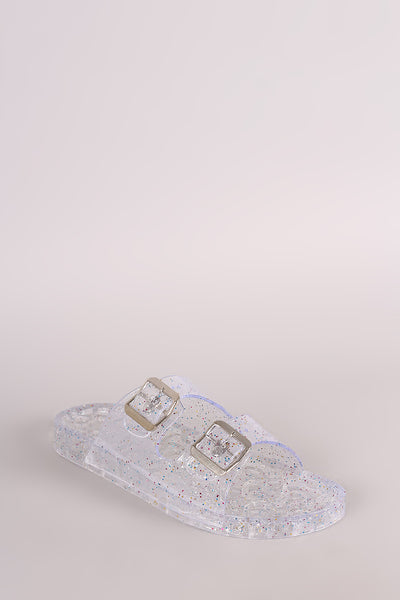 Jelly Slide Sandal For Women By Wild Diva | Shop Women's Fashion Glitter Double Bands With Buckles And Open Toe Silhouette Jelly Slide Sandal