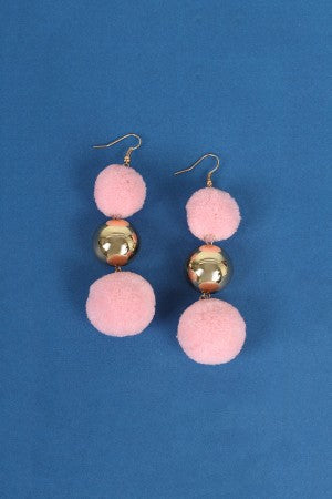 Triple Polished Ball And Pom Pom Dangle Earrings