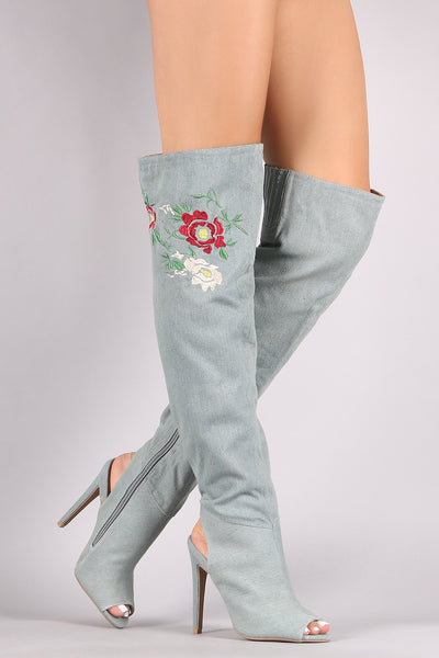 Denim Over-The-Knee Boots For Women By Qupid | Shop Women's Fashion Lovely Stylish Boots Embroidered Floral Denim Upper Peep Toe Silhouette Cutout Heel Counter Stiletto Heel Over-The-Knee Boots