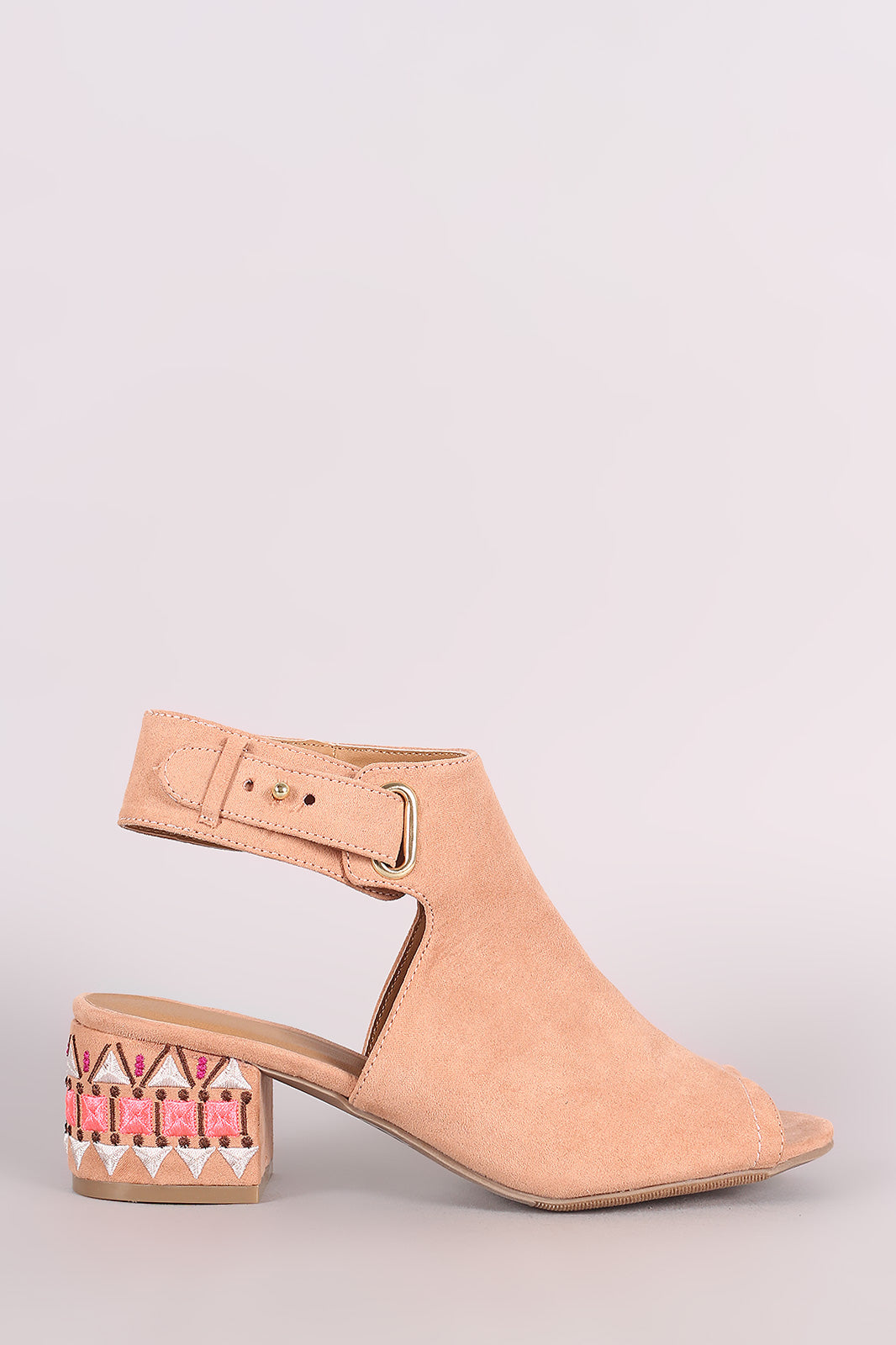 Qupid Suede Embroidery Mule Blocked Heel