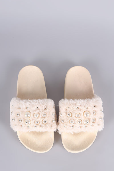 Beaded Pearl Slide Sandals For Women By LUD | Shop Women's Fashion Soft Faux Fur Band With Multi-Size Beaded Pearl Embellished Faux Fur Slide Sandals