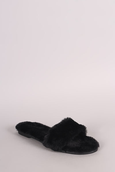 Bamboo Faux Fur Single Wide Band Slip-On Sandal