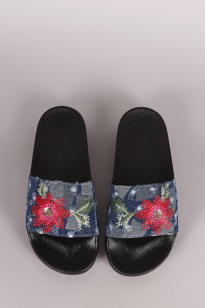 Distressed Denim Embroidered Floral Slide Sandal
