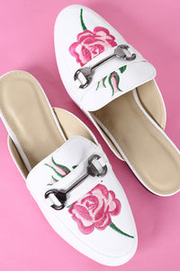 Embroidered Floral Horsebit Mule Flat For Women By Bamboo | Shop Women's Fashion Floral Embroidery Rose Buckle Backless Slip On Loafer Flats Business Casual Office Trendy High Fashion Mule Slipper