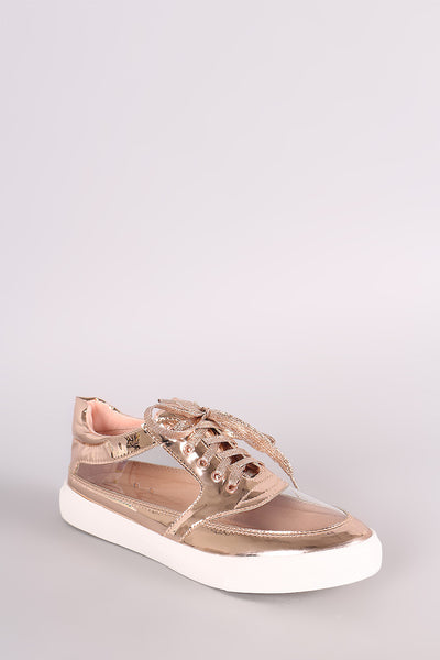 Liliana Patent Transparent Panel Lace Up Sneaker