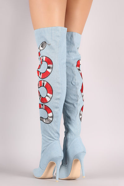 Denim Over-The-Knee Boots For Women By LUD | Shop Women's Fashion Denim Embroidered Snake Stiletto Over-The-Knee Boots