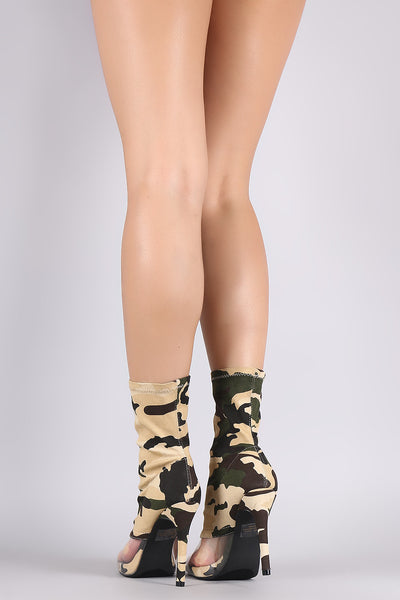 Camouflage Clear Inset Peep Toe Stiletto Boots