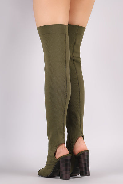 Bamboo Stretchy Knit Peep Toe Chunky Heeled Over-The-Knee Boots